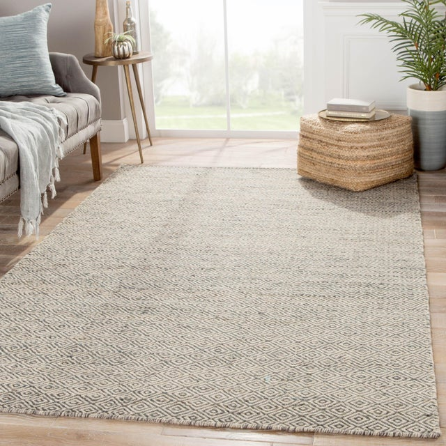 2010s Jaipur Living Wales Natural Geometric Gray/ White Area Rug - 9′ × 12′ For Sale - Image 5 of 6