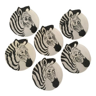Vintage Zebra Plates for Bonwit Teller - Set of 6 For Sale