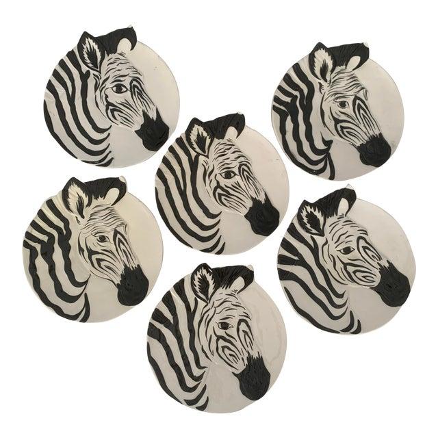 Vintage Zebra Plates for Bonwit Teller - Set of 6 For Sale