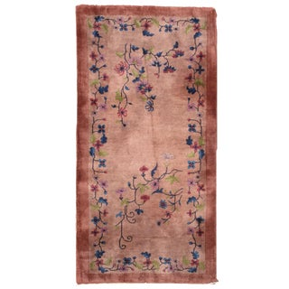 1920s Handmade Antique Art Deco Chinese Rug 3' X 6' For Sale