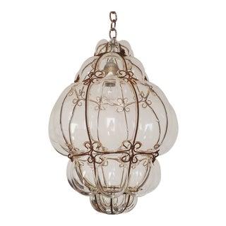 Antique Venetian Caged Murano Glass Pendant Lantern For Sale