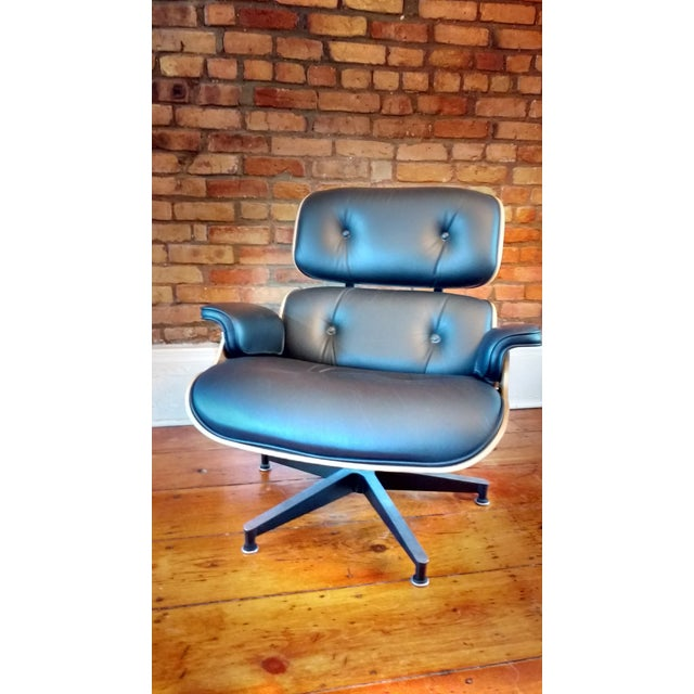 Eames Lounge Walnut & Black Leather Chair & Ottoman - Image 8 of 8