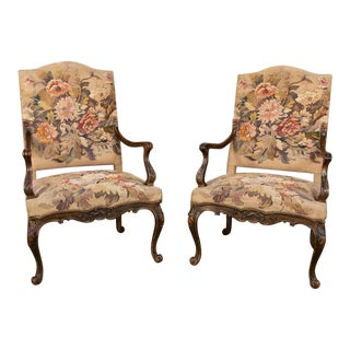 Pair 19th Century French Louis XV Tapestry Armchairs For Sale