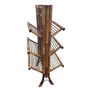Vintage Bamboo Folding Book Rack