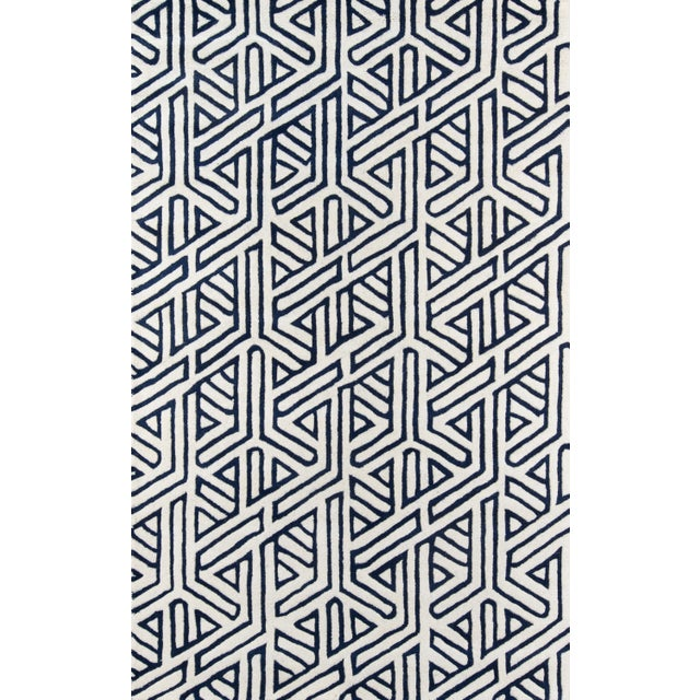 "Contemporary Momeni Delhi Hand Tufted Navy Wool Runner - 2'3"" X 8' For Sale In Atlanta - Image 6 of 6"