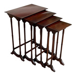 19th Century English Traditional Nesting Tables - 4 Piece Set For Sale