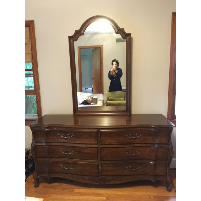 Brass 1970s French Provincial White Furniture Company Cherrywood Dresser with Mirror For Sale - Image 8 of 8