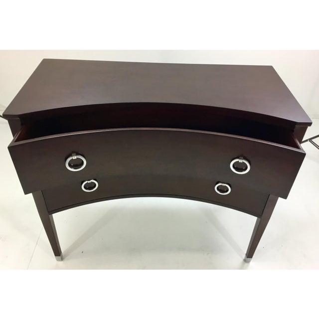Stylish transitional Modern History brown concave front chest, warm espresso finish two drawers, silk nickel pulls and...