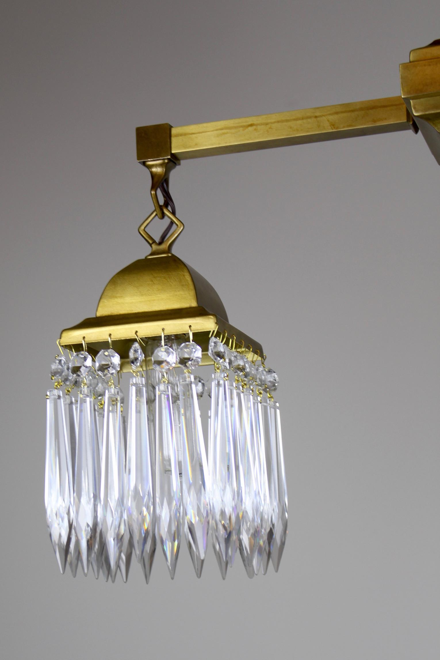 Mission Style Crystal Fixture Circa 1910 Satin Brass (2 Light) - Image 6 of  sc 1 st  Decaso & High-End Mission Style Crystal Fixture Circa 1910 Satin Brass (2 ...