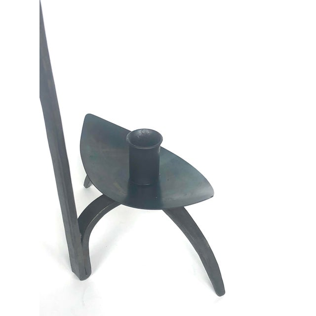 Early 20th Century Early 20th Century Hand-Forged Iron Candle Holder For Sale - Image 5 of 13