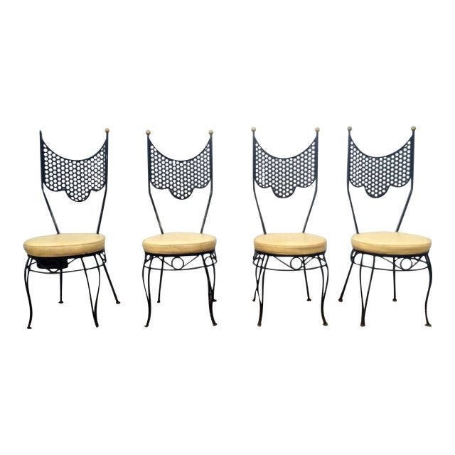 Vintage High Back Metal Chairs - Set of 4 - Image 1 of 6