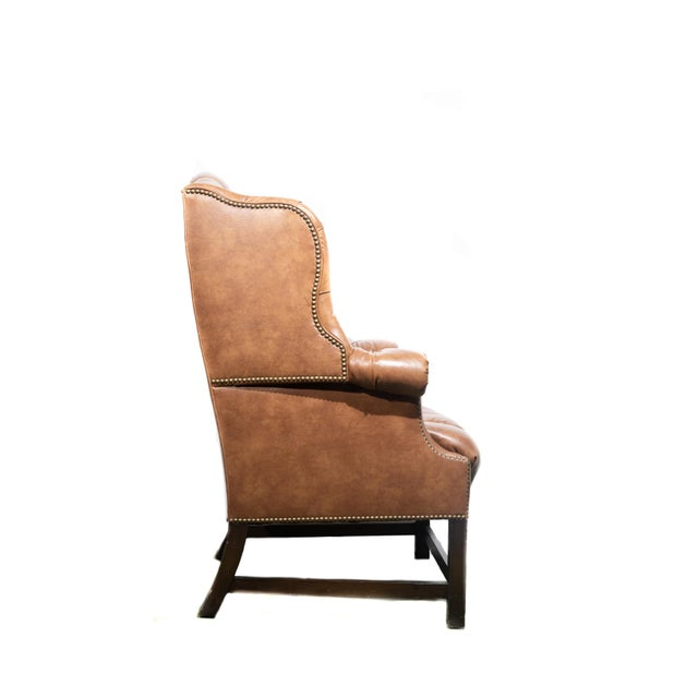 1960s Vintage Wingback Tufted Leather Chairs - a Pair For Sale - Image 5 of 7