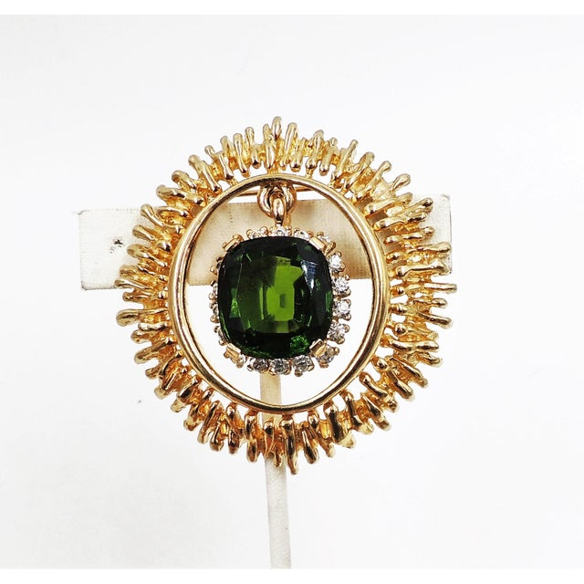 Mid-Century Modern Panetta Faux-Emerald Drop Brooch For Sale - Image 3 of 8
