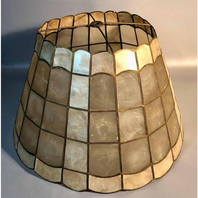 "Metal 1960s Mid Century Modern 16"" Capiz Shell & Brass Lamp Shade Scalloped Top and Base For Sale - Image 7 of 7"