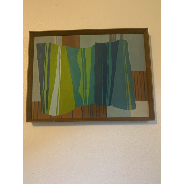 Mid-Century Modern Abstract Line Acrylic Painting, Framed For Sale In Seattle - Image 6 of 8