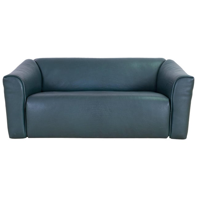 De Sede DS 47 Sofa in Petrol Green Leather For Sale