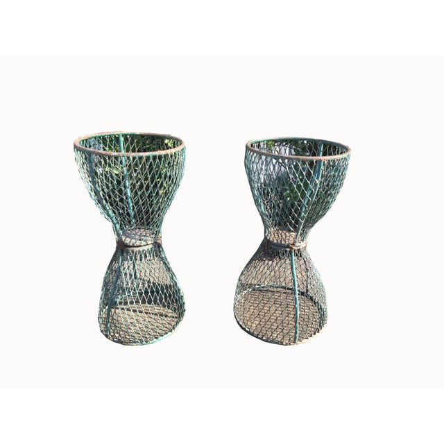 Paint 1960s Vintage French Hourglass Wire Planters- A Pair For Sale - Image 7 of 7