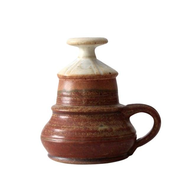 Vintage Studio Pottery Oil Lamp by Charles Piatt For Sale