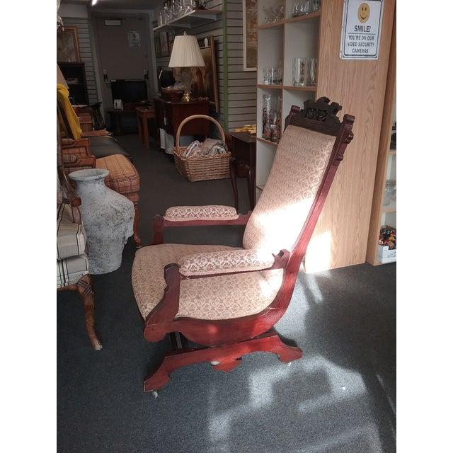 Victorian Eastlake Upholstered Victorian Wood Platform Rocking Chair For Sale - Image 3 of 13