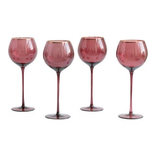 Siren Beverageware Bordeaux + Gold White Wine - Set of 4 For Sale