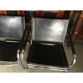 Pair of Chrome Leather Chairs Cantilever by Linea Veam Preview
