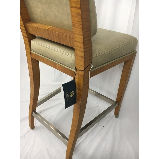 Lemonwood Green Aubusson Bar Stool For Sale - Image 5 of 9