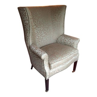20th Century English Traditional Henredon Stately Wingback Chair For Sale