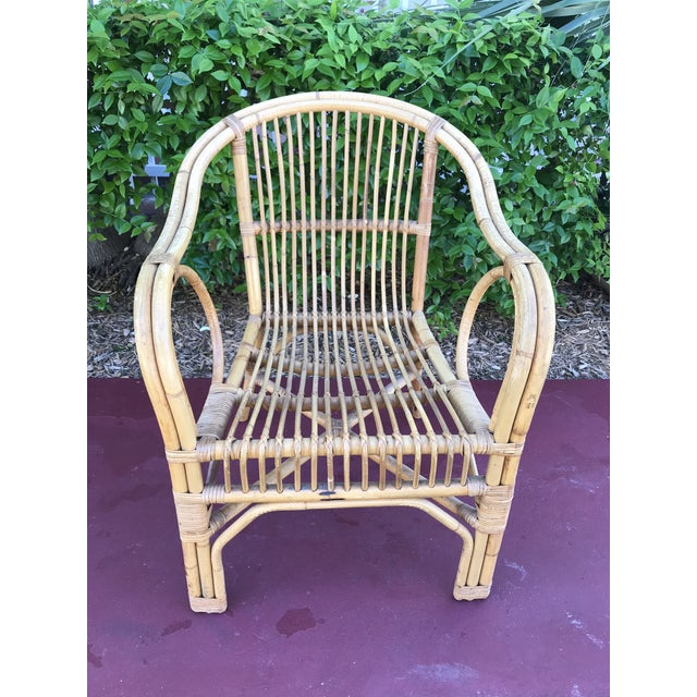 Boho Chic 1960s Vintage Bamboo Arm Chairs- Set of 4 For Sale - Image 3 of 13