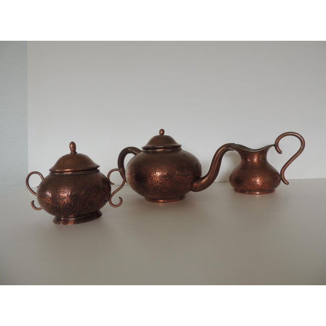 Vintage Copper Tea or Coffee Serving Set. For Sale In Miami - Image 6 of 6
