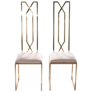 Rare Pair of Chairs by Willy Rizzo for Maison Jansen, 1970s For Sale