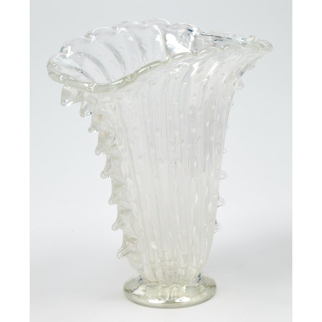 """Crystal Clear Murano """"Pulegoso"""" Glass Vase For Sale - Image 4 of 9"""