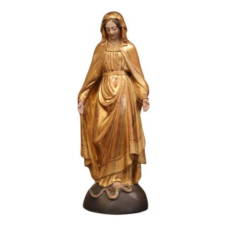 19th Century French Carved Giltwood Virgin Mary Statue on Globe From Provence For Sale