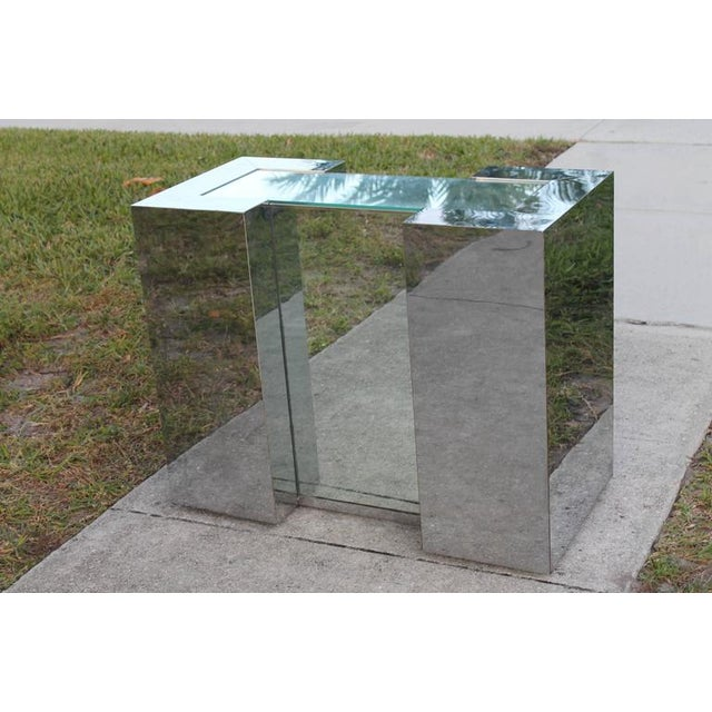 Milo Baughman Style Mirrored Chrome Dining Table Base For Sale In West Palm - Image 6 of 12