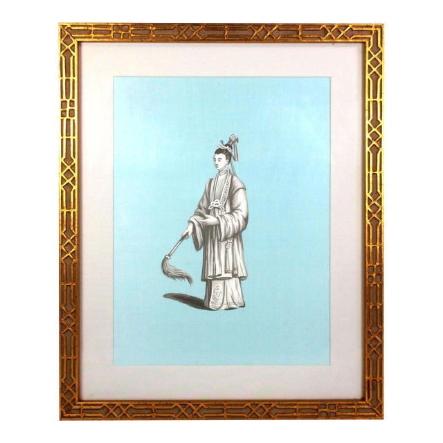 Jardins en Fleur Chinoiserie Painting of Chinese Nobleman in Grisailles on Tiffany Blue Silk For Sale