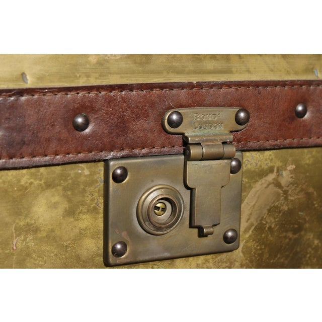 English Brass & Leather Campaign Style Coffee Table For Sale - Image 5 of 7