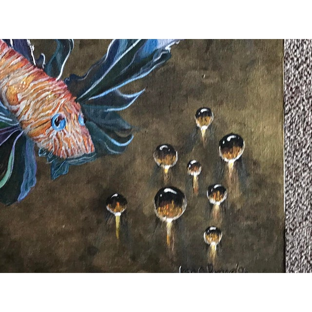 Modern Signed Fran C. Romero 1996 Tiger Fish Surrealism Oil on Canvas For Sale In Miami - Image 6 of 9