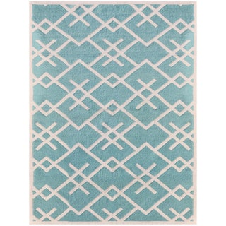 Zara Patterned Aqua Flat-Weave Rug 8'x10' For Sale