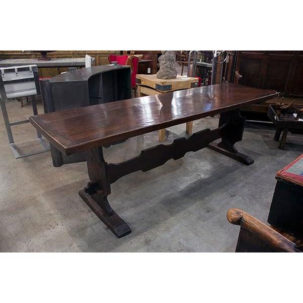 Italian Italian Walnut Trestle Table With Designed Stretcher For Sale - Image 3 of 3