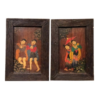 Vintage Asian Art Framed Painted Wall Hangings on Wood - a Pair For Sale