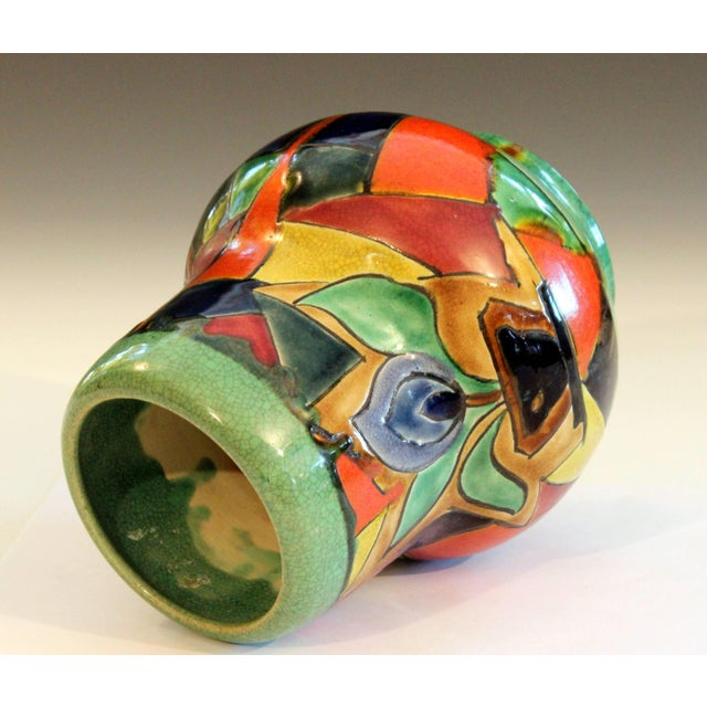Early 20th Century Awaji Pottery Art Deco Japanese Mock Cubist Fractured Picture Plane Vase Signed For Sale - Image 5 of 10