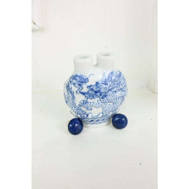 Blue Double Head Porcelain Bottle For Sale - Image 8 of 9