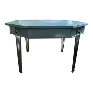 Large Octagonal Iron Dining Table, Center Table or Garden Table with Slate Top For Sale