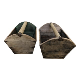 Early 20th Century Antique Wooden Storage Containers - A Pair For Sale