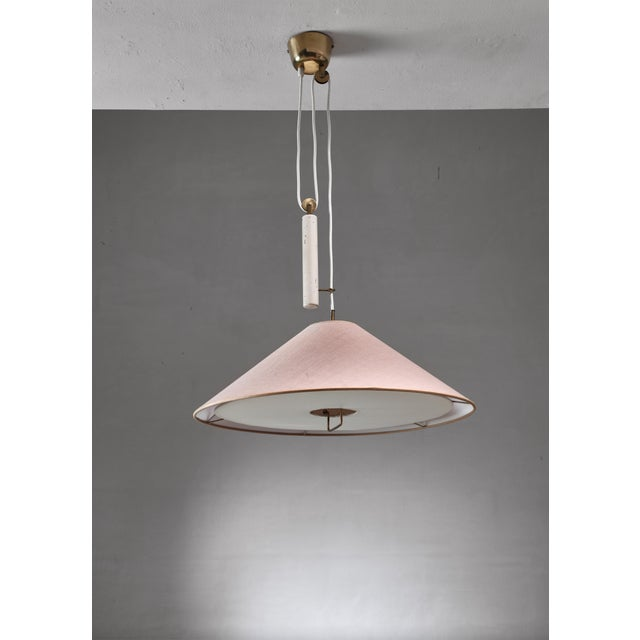 Paavo Tynell Pendant With Counterweight and Fabric Shade and Diffuser, Finland For Sale - Image 6 of 6