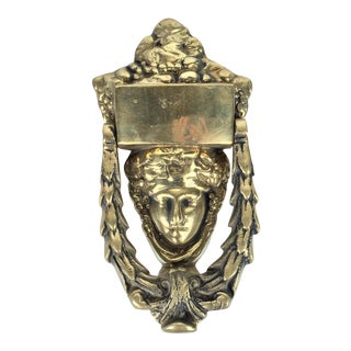 Solid Brass Greek Goddess Door Knocker For Sale