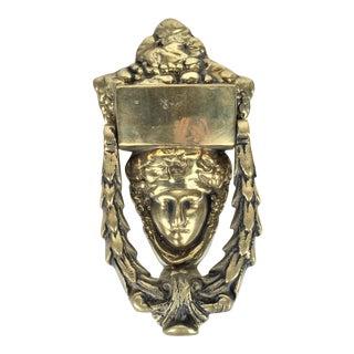 Solid Brass Greek Goddess Door Knocker For Sale
