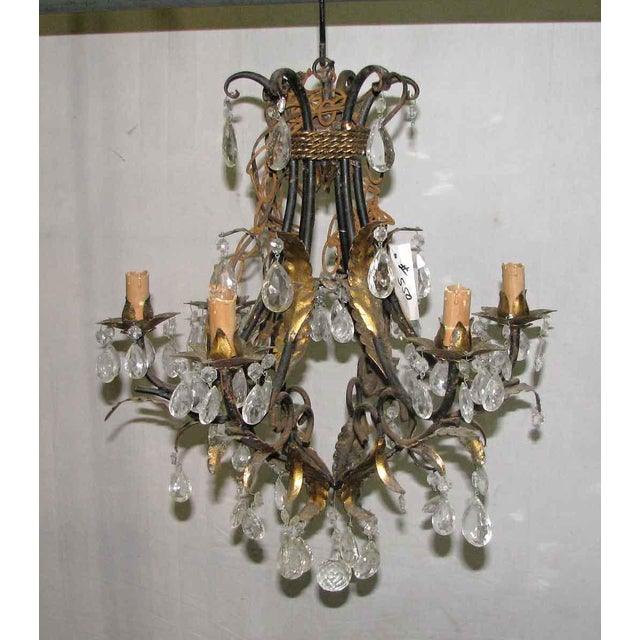 Gold Wrought Iron Brass & Crystal Chandelier For Sale - Image 8 of 8