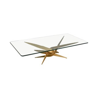 Brutalist Mid Century Modern Torch Cut Steel Sculptural Coffee Table W/ Glass Top For Sale