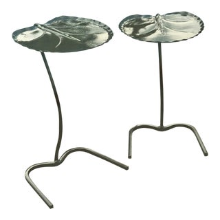 Salterini Nesting Leaf / Lily Pad Tables or Drink Stands - a Pair For Sale