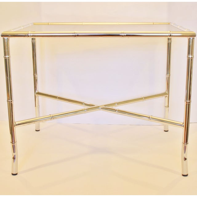 Chrome Faux Bamboo End Table With Smoked Glass Top Chairish - Bamboo end table glass top